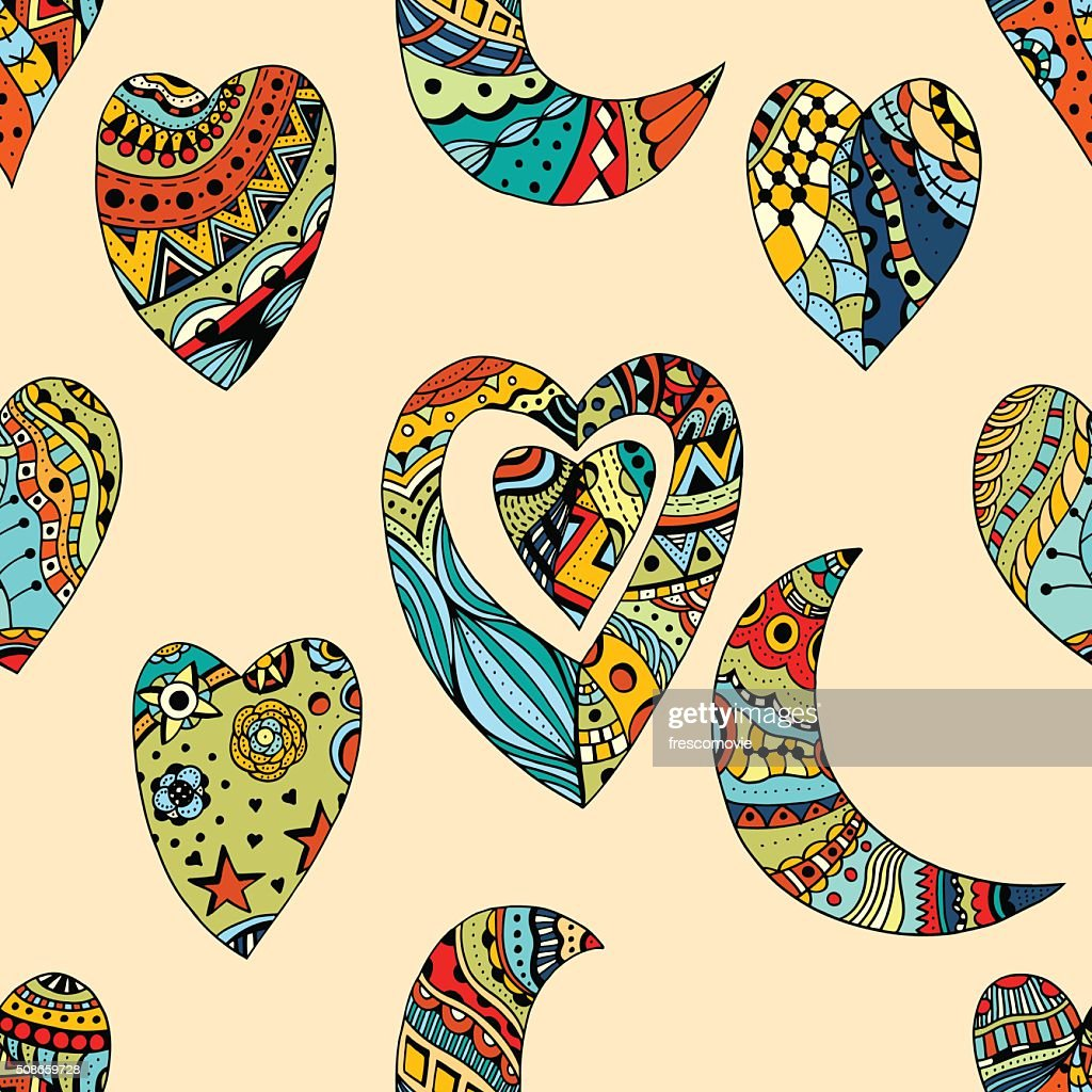 pattern of hearts and crescent : Vector Art
