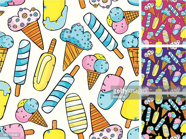 pattern of ice-creams - whipped cream stock illustrations, clip art, cartoons, & icons