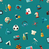 Pattern of modern flat design hobby icons and infographicselements set