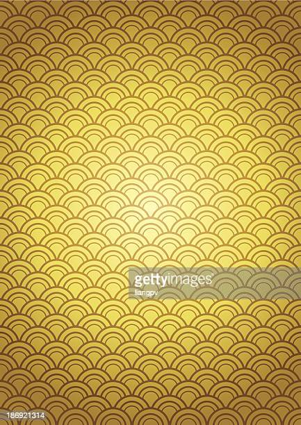 Pattern of overlaying gold pieces