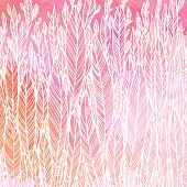 pattern of red pink leaves, grass, feathers, watercolor abstract background