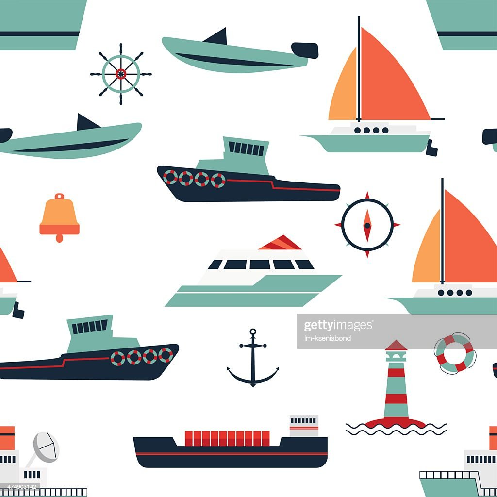 pattern of ships and boats