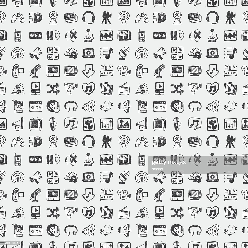 Pattern of technology, media and social icons