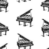 Pattern of the sketches of concert grand piano