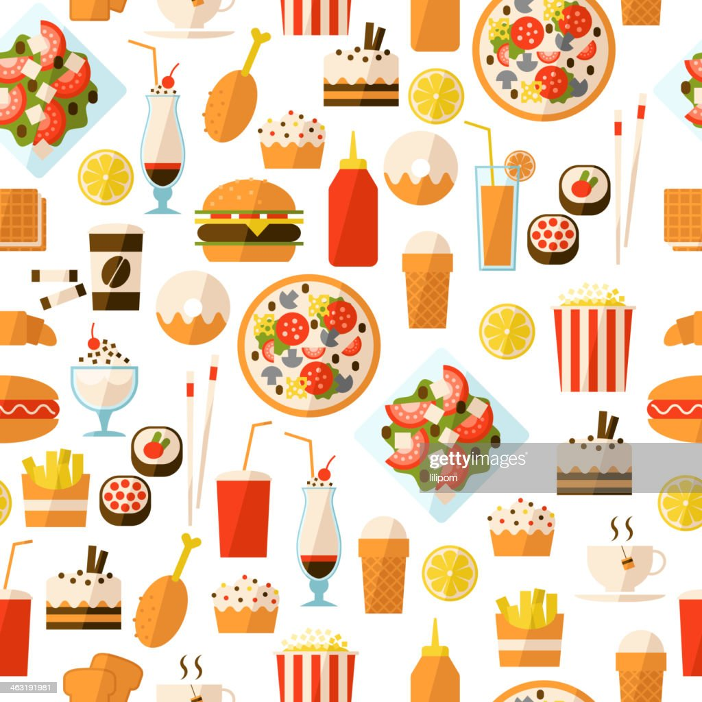 Pattern of various cartoon fast food and drink themed icons