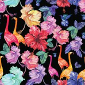 Pattern retro Seamless watercolor tropical flowers, palm tree and birds