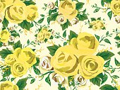Pattern seamless bouquet of yellow roses on a cream background.