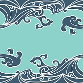 Pattern Seamless summer Ocean Waves hand drawn style