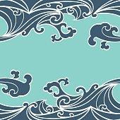 Pattern Seamless summer Ocean Waves hand drawn style
