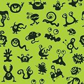 pattern seamless texture monsters UFO bacteria virus black on gr