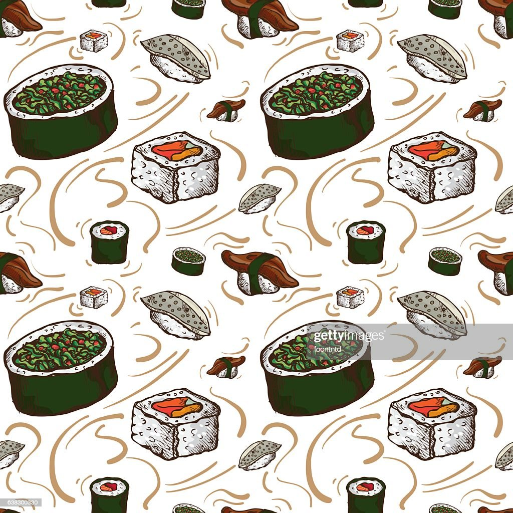 pattern sushi wallpaper