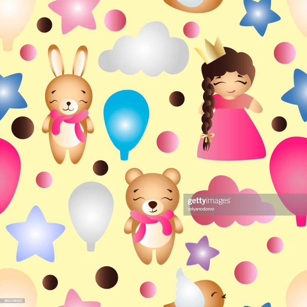 pattern with a cartoon cute toy baby girl