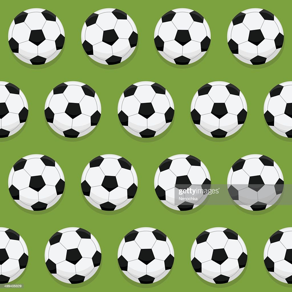 Pattern with a soccer ball on the grass