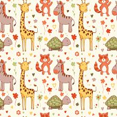 Pattern with africa zoo animals