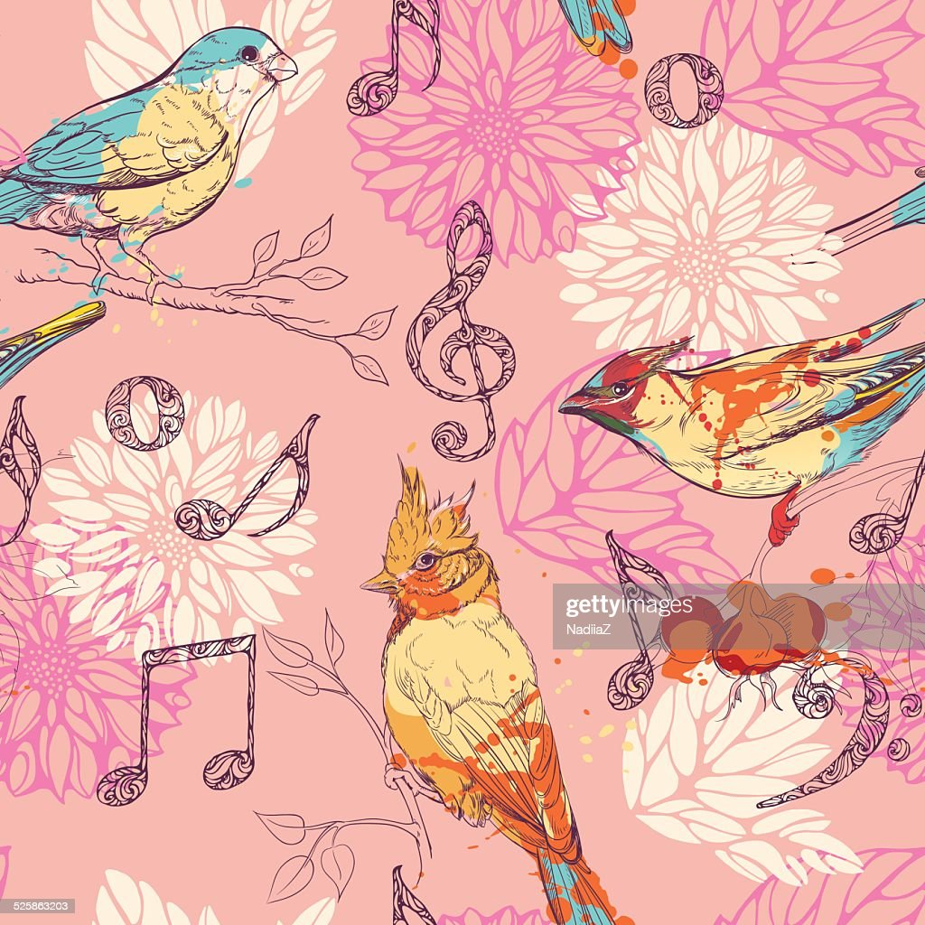 pattern with birds, flowers and musical symbols