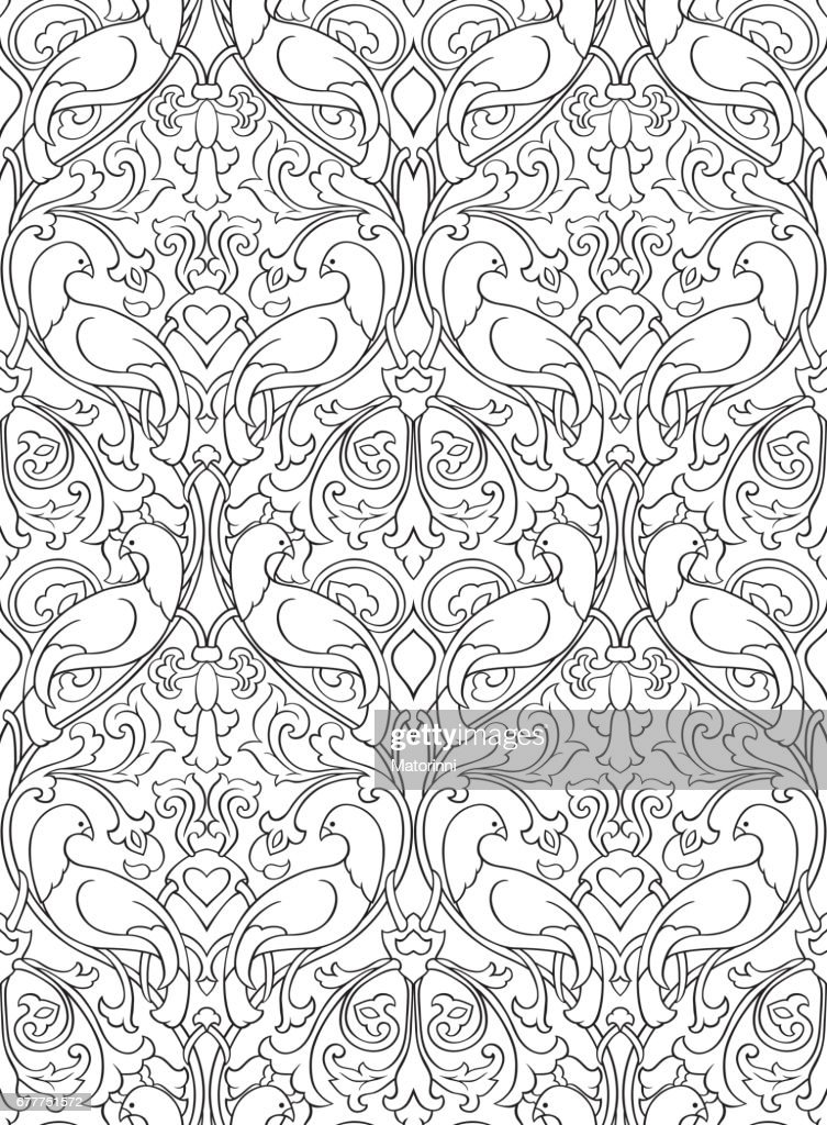 Pattern with birds for wallpaper.