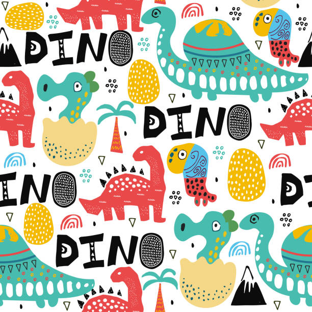 Pattern with dino,dinosaur with palms and eggs and newborn dino child. Kids drawing illustration, abstract background,textile,fabric or poster.