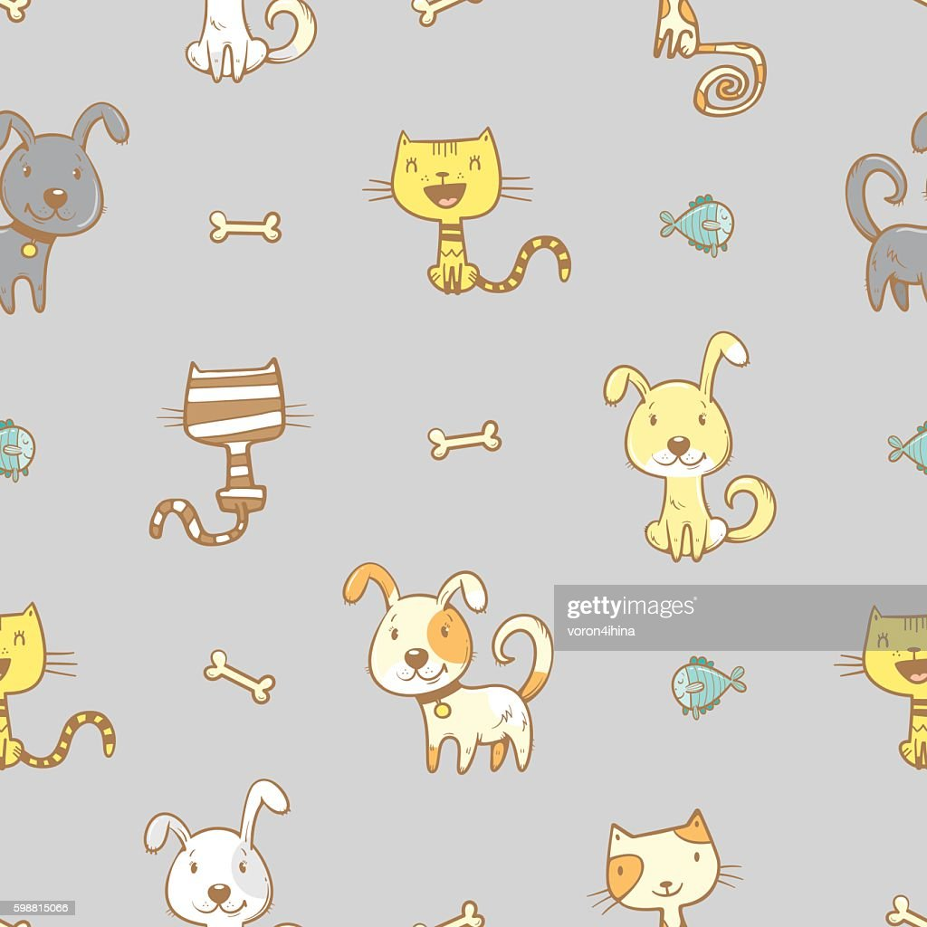 Pattern with dogs and cats.