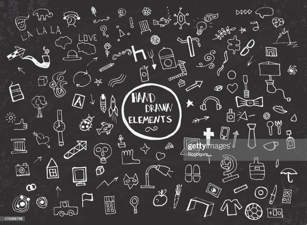 Pattern with Hand Drawn Icons and Elements