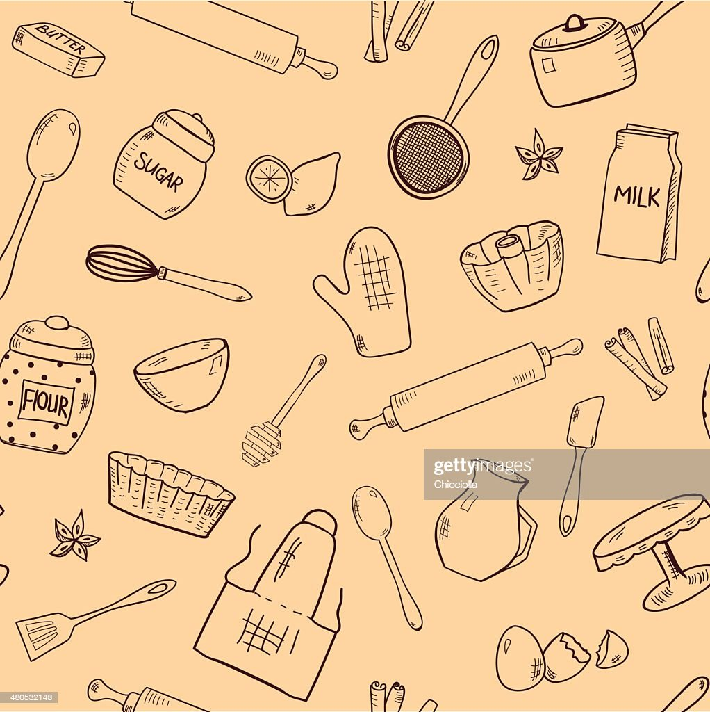 Pattern with hand drawn kitchen items : Vector Art
