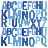 Pattern with hand drawn vector letters