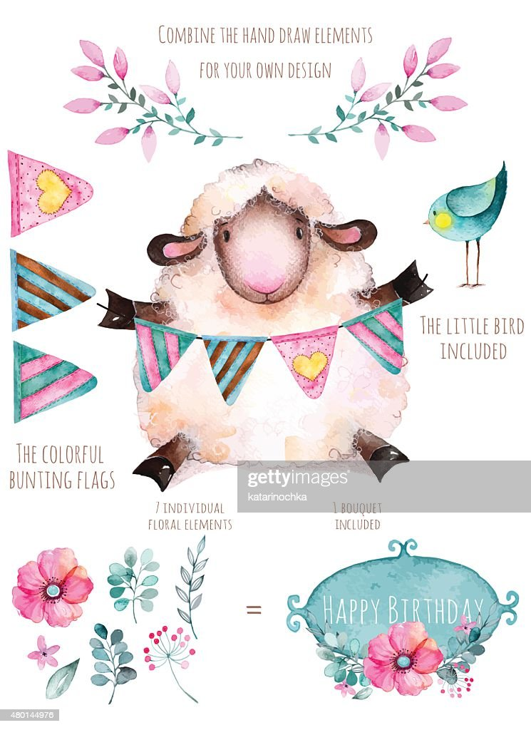 Pattern with individual elements for design:flowers,little bird, lamb.