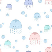 Pattern with jellyfish. Seamless vector illustration