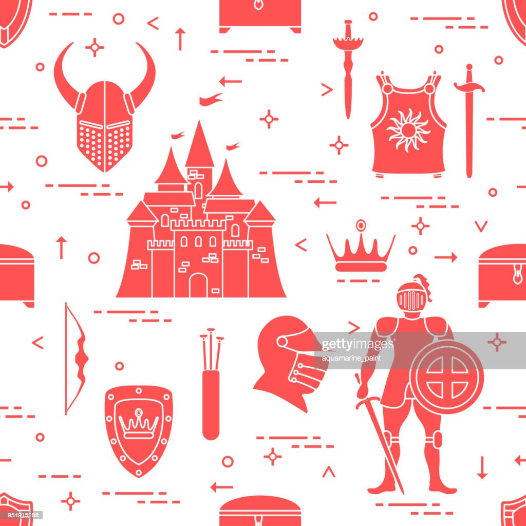 Pattern with knight, shields, swords and other.