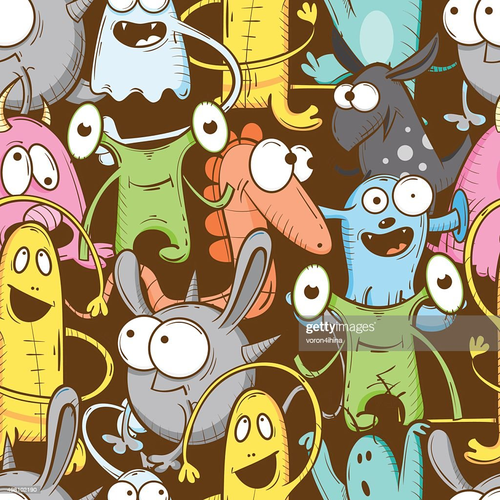 Pattern with monsters.