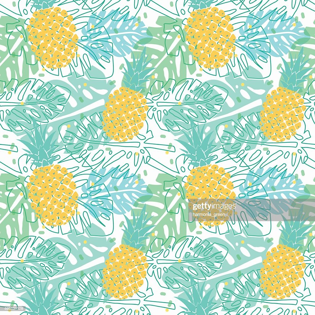 pattern with pineapples and palm leaves