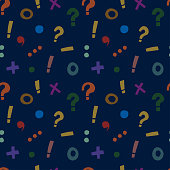 pattern with punctuation marks and mathematical signs on a blue background