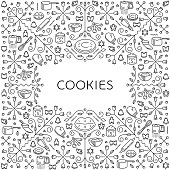 Pattern with restaurant and kitchen utensils for cookies