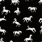Pattern with silhouette horses in various poses and motion. Seamless black and white vector background with hand drawing horses.