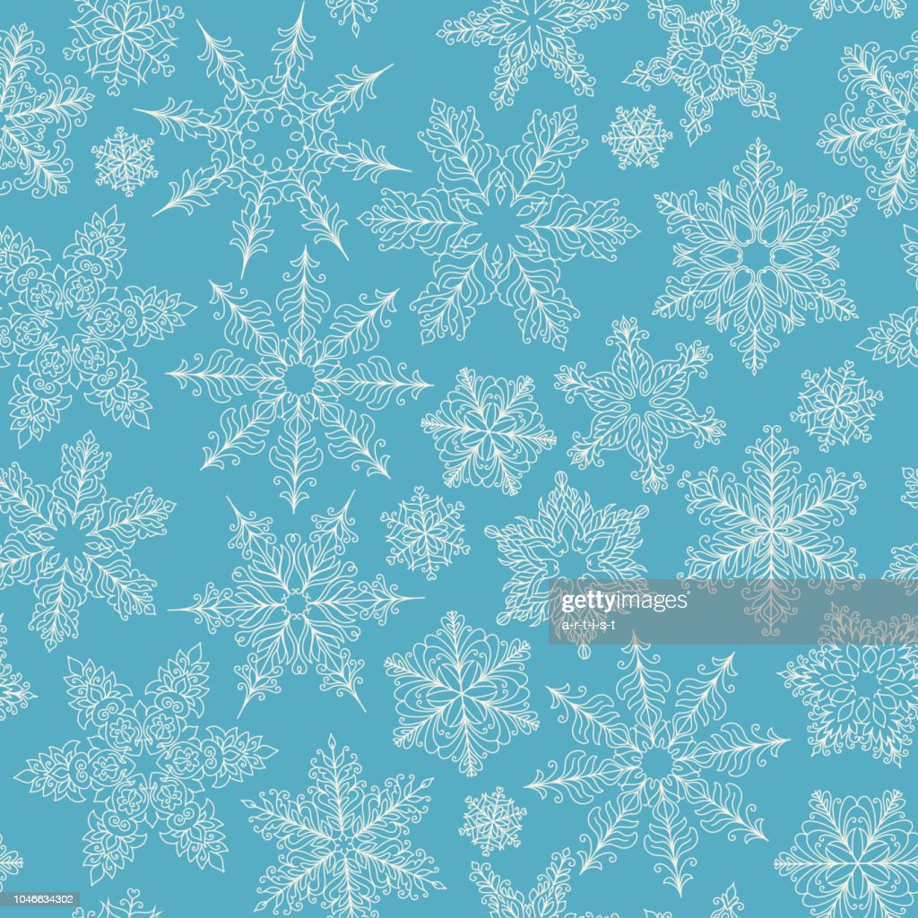 pattern with snowflakes line drawing vector art getty images