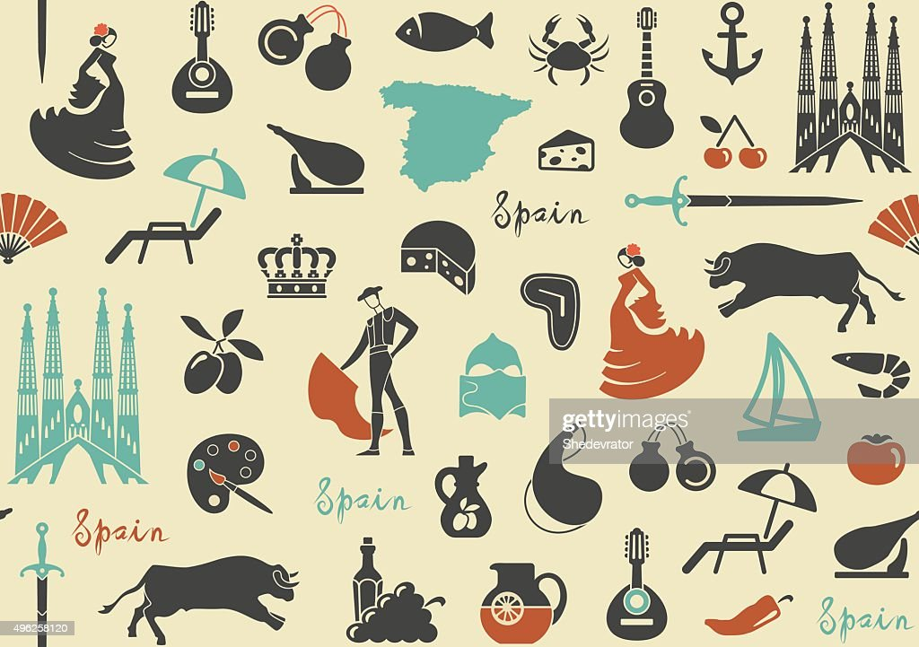 Pattern with symbols of Spain