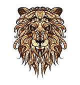 Patterned head of the lion. African / indian totem / tattoo design