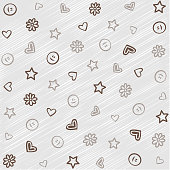 patterns with flowers hearts smileys stars