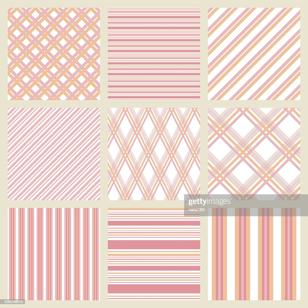 Patterns With Stripes And Cells In Pale Pink Shades Vector Art