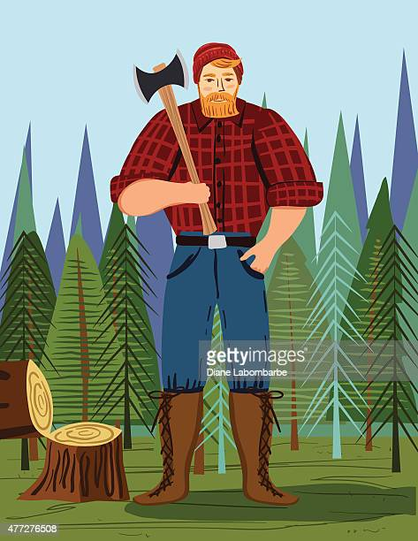 paul bunyan style lumberjack in the woods with an axe - large stock illustrations