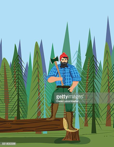 paul bunyan style lumberjack in the woods with an axe - masculinity stock illustrations, clip art, cartoons, & icons