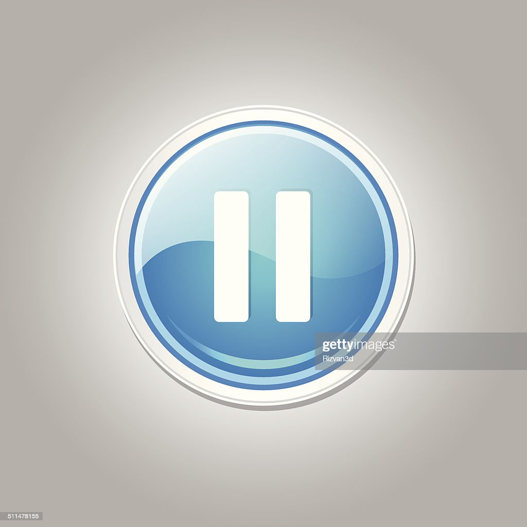 Pause Circular Vector Blue Web Icon Button