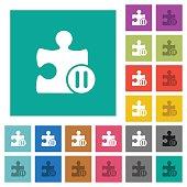 Pause plugin square flat multi colored icons