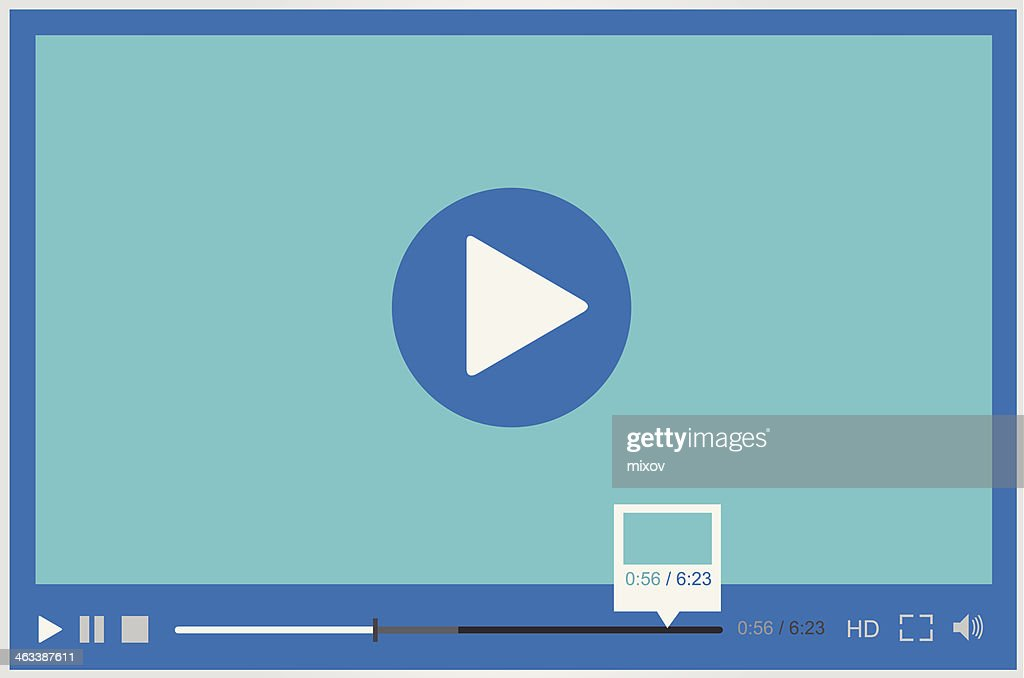 Paused video player for web in blue