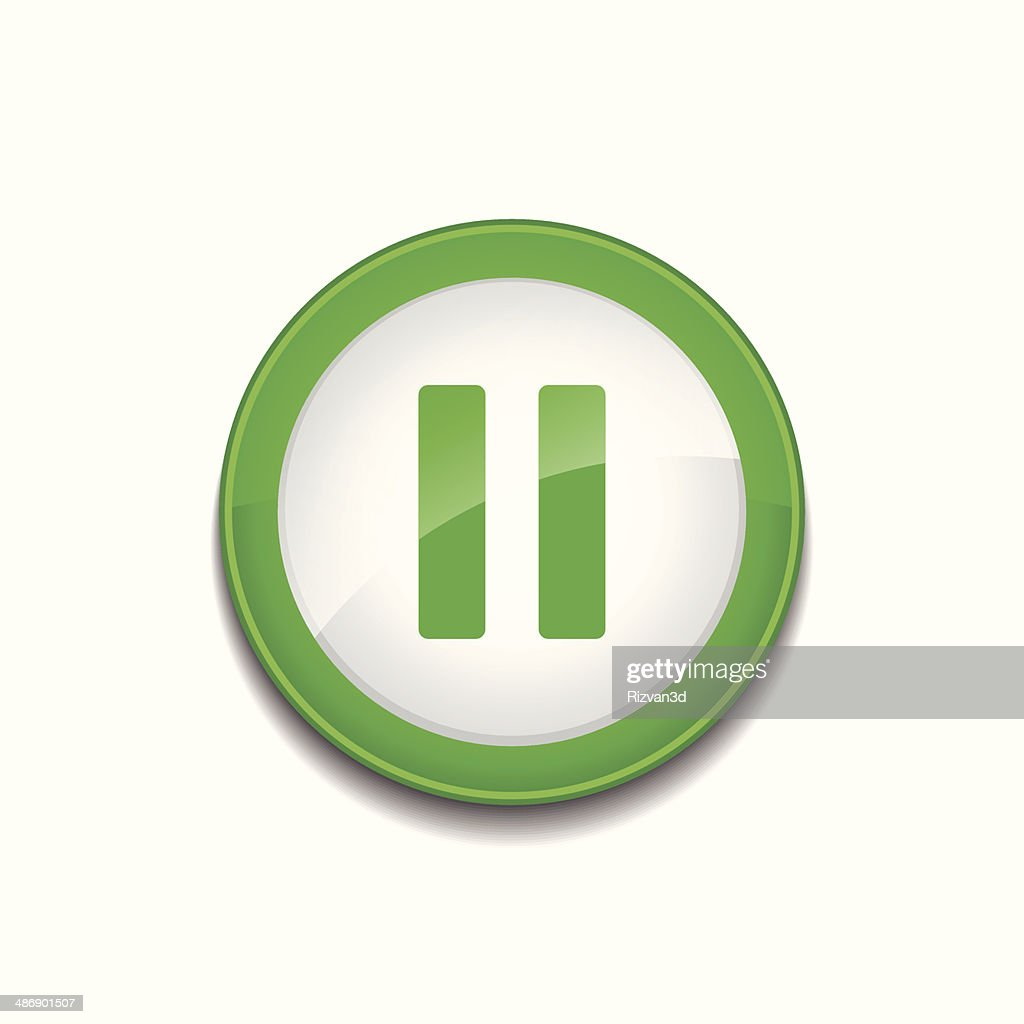 Pausr Sign Circular Green Vector Button Icon