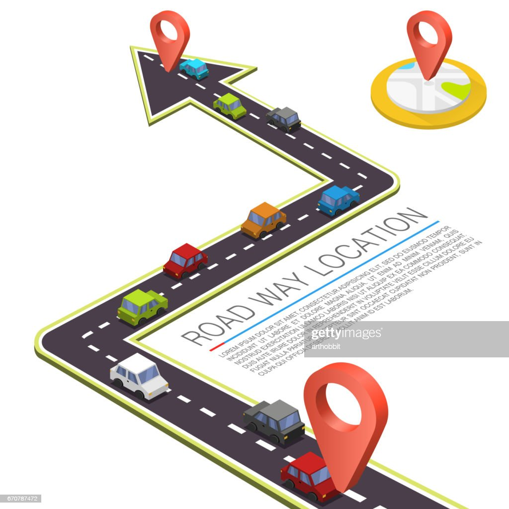Paved path on the road, Road isometric location, Road color car, Vector background