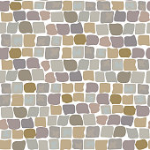 Paving Stones Road Texture seamless pattern. wall of stone, cobbled street