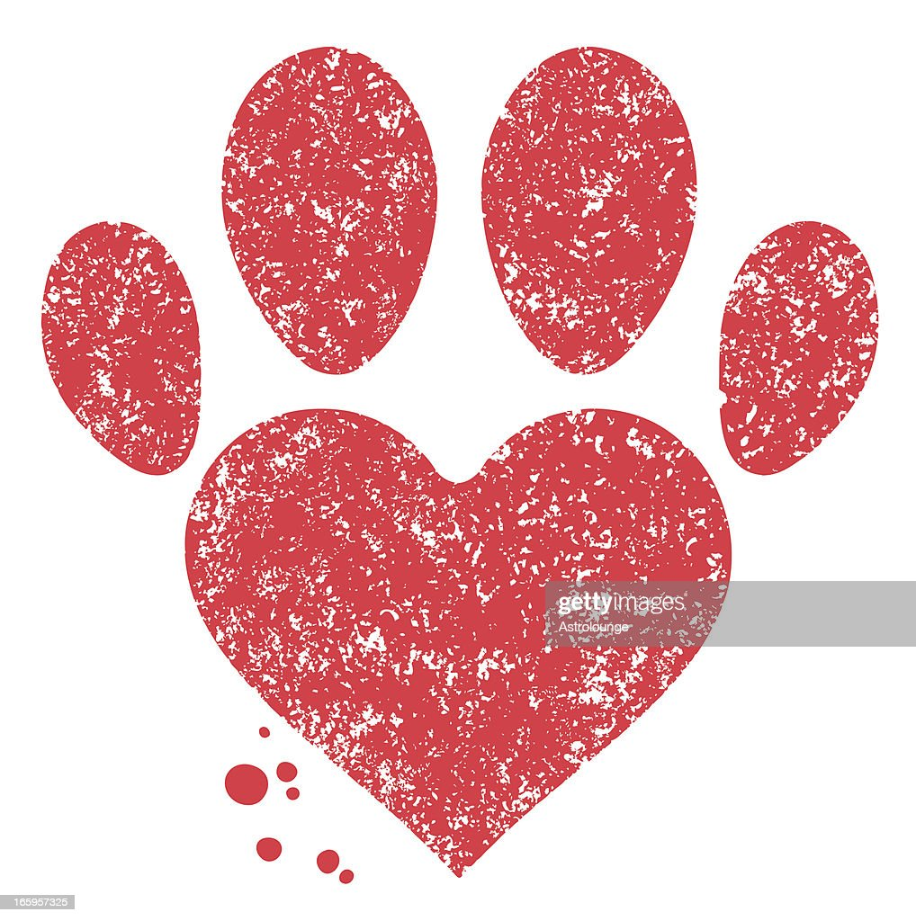 Paw and heart shape : Vector Art