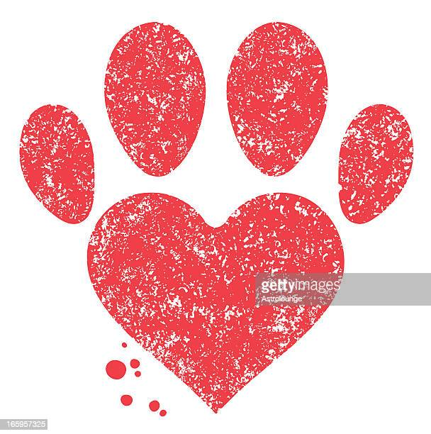 Paw and heart shape