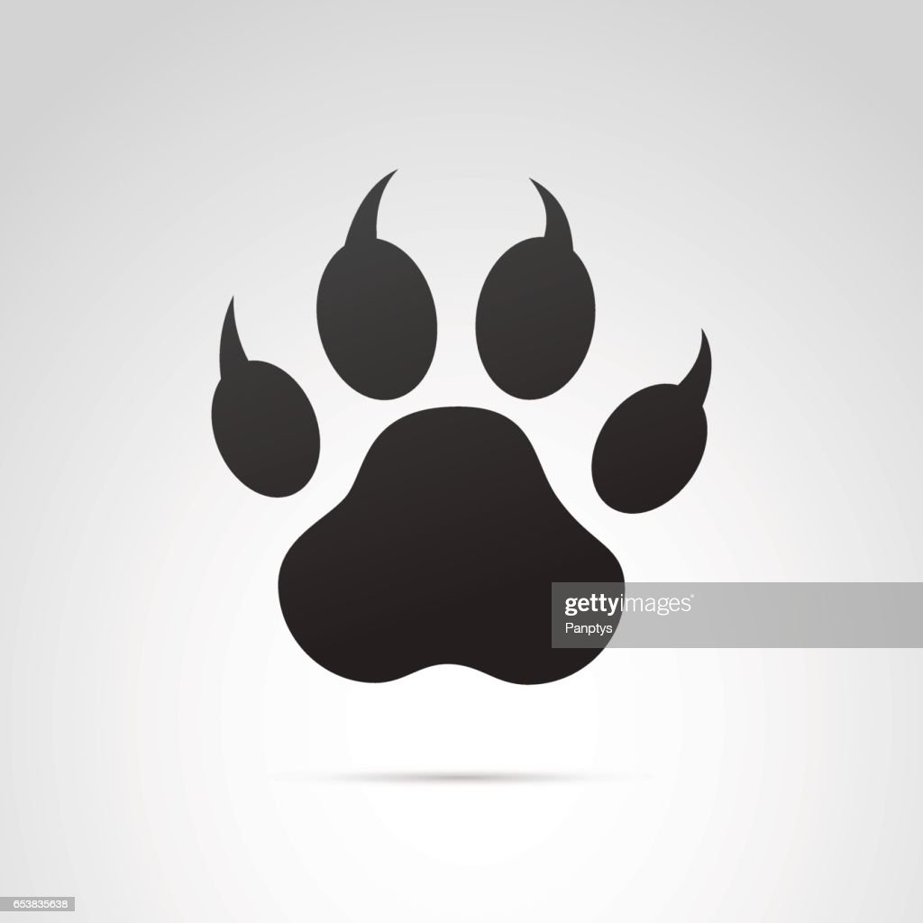 Paw, animal footprint icon.