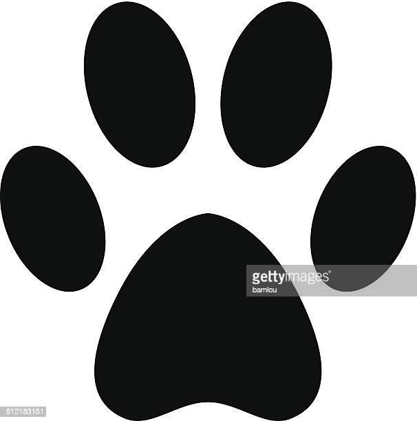 paw black silhouette - animal track stock illustrations, clip art, cartoons, & icons